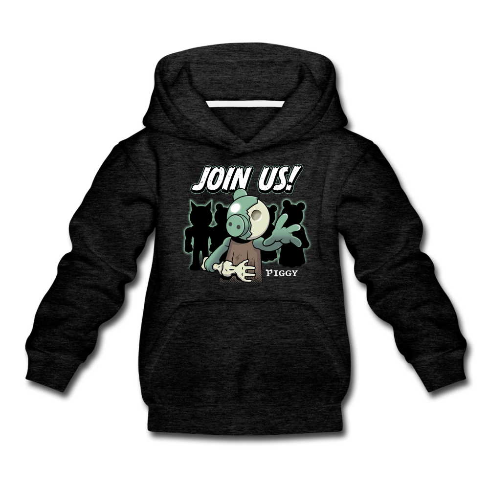 Piggy Join Us! Hoodie - charcoal gray