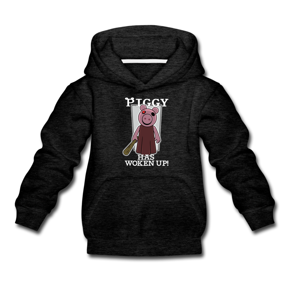 Piggy Has Woken Up Hoodie - charcoal gray