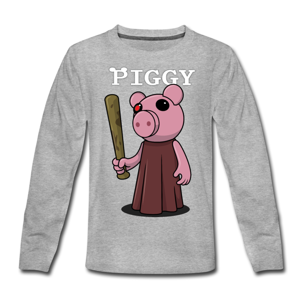 Piggy Logo Long Sleeve T-Shirt - heather gray