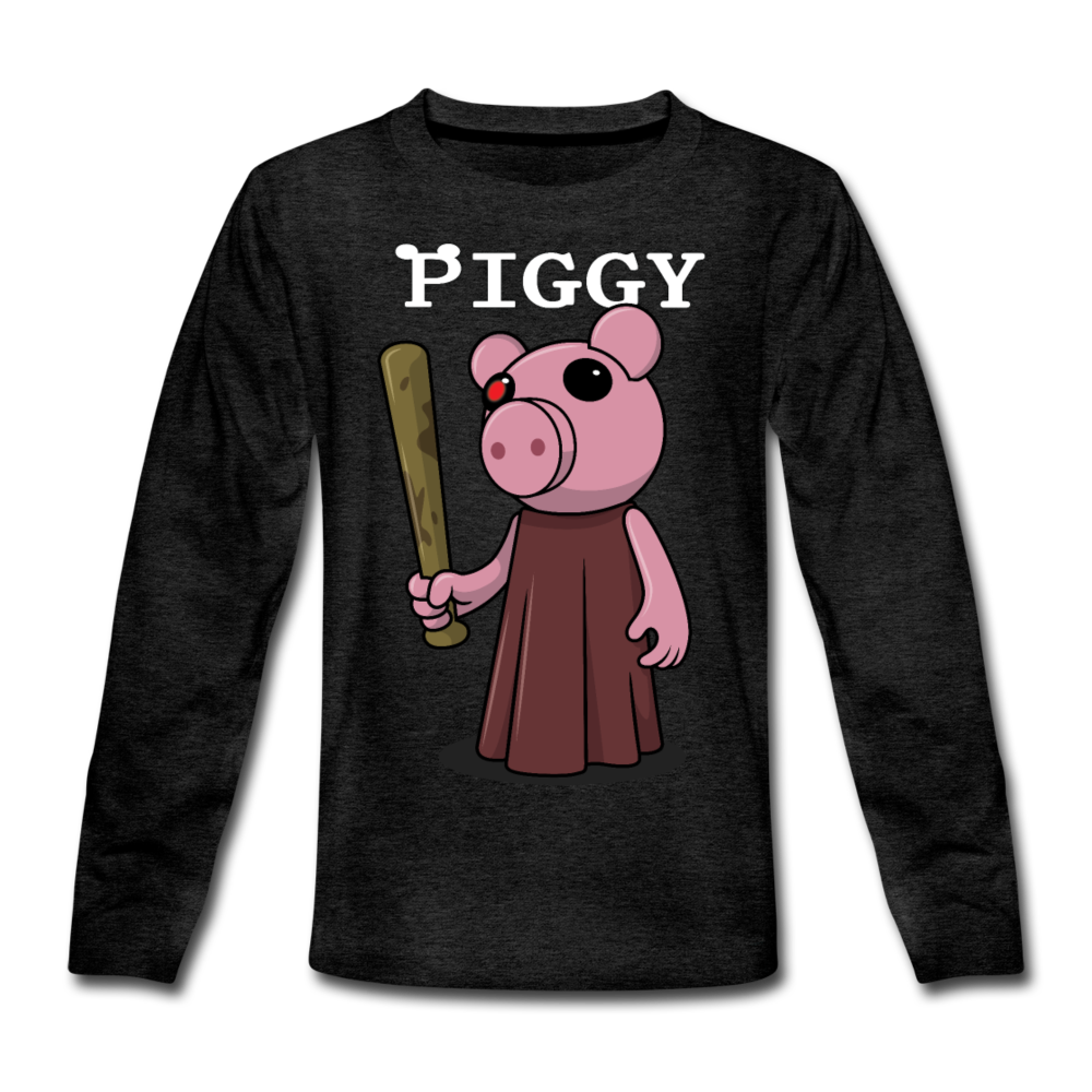 Piggy Logo Long Sleeve T-Shirt - charcoal gray