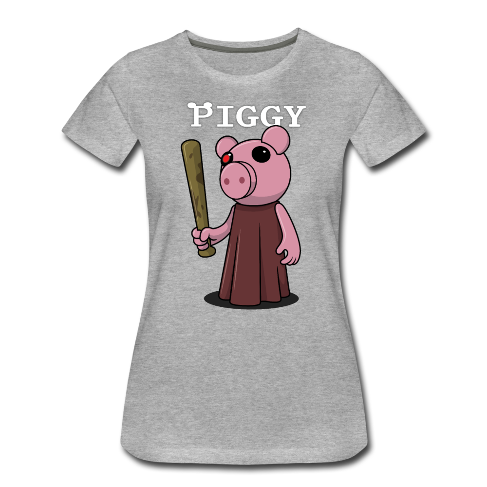 Piggy Logo T-Shirt (Womens) - heather gray
