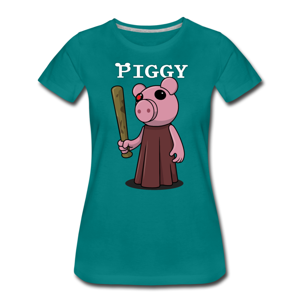 Piggy Logo T-Shirt (Womens) - teal