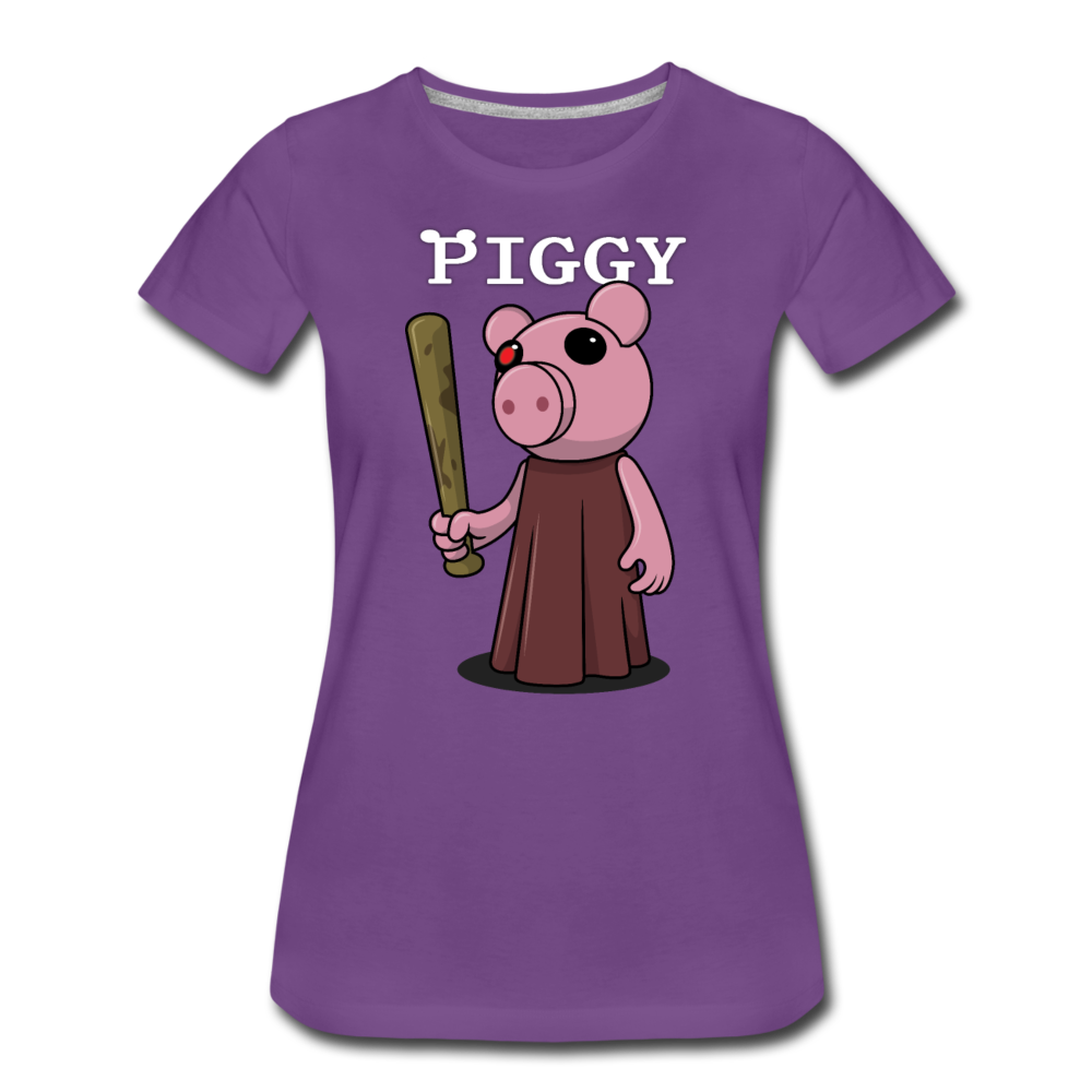 Piggy Logo T-Shirt (Womens) - purple