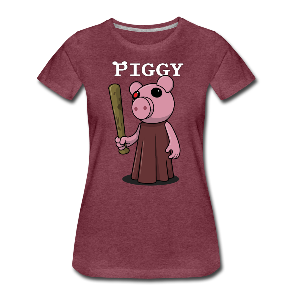 Piggy Logo T-Shirt (Womens) - heather burgundy