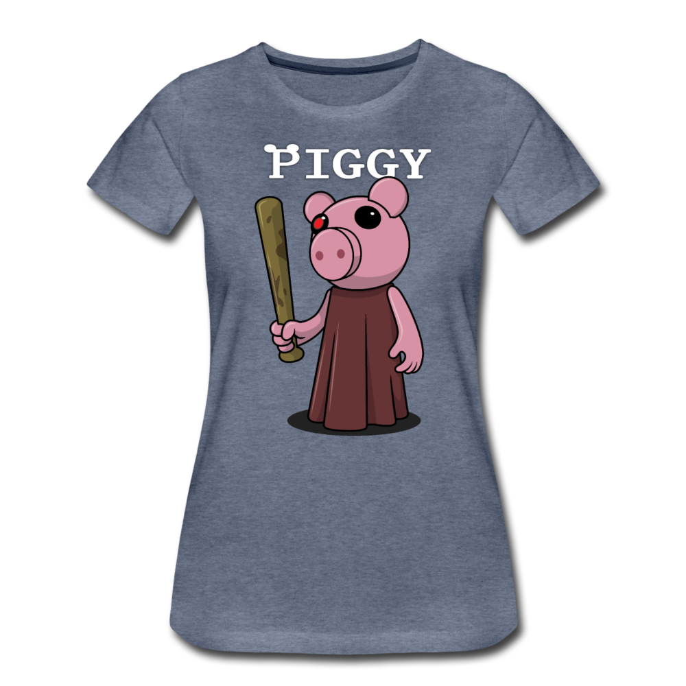 Piggy Logo T-Shirt (Womens) - heather blue