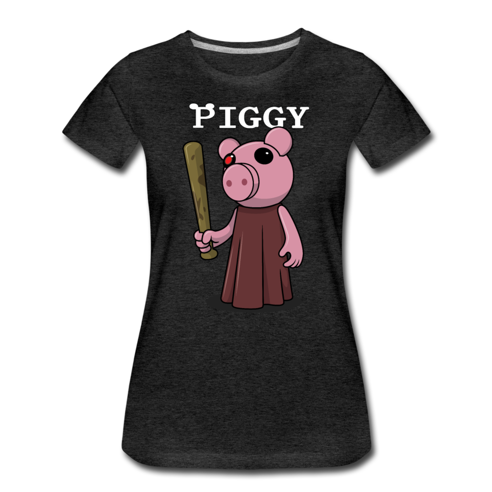 Piggy Logo T-Shirt (Womens) - charcoal gray