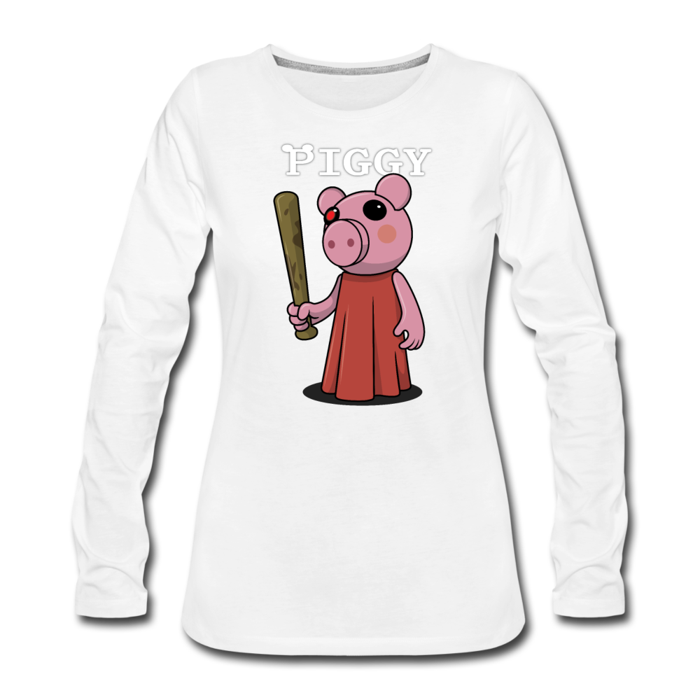 Piggy Logo Long Sleeve T-Shirt (Womens) - white