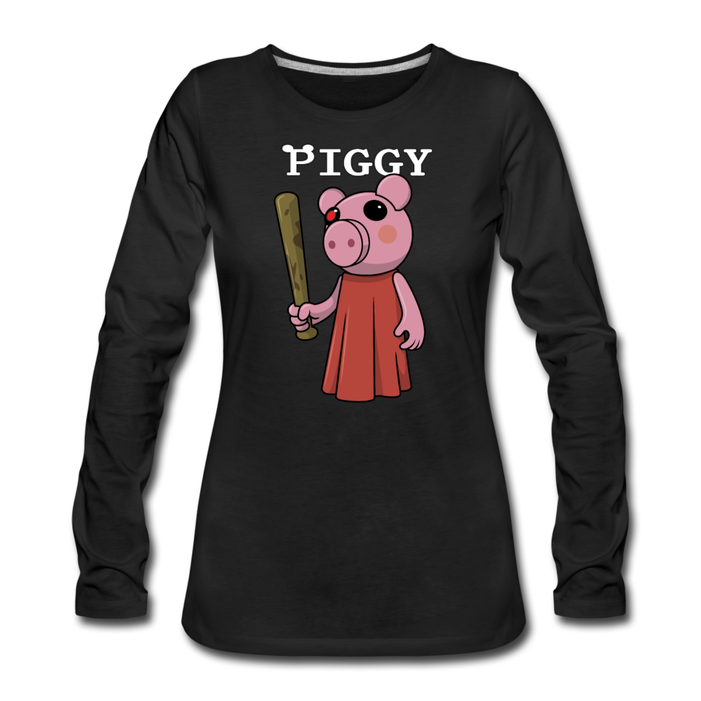 Piggy Logo Long Sleeve T-Shirt (Womens) - black