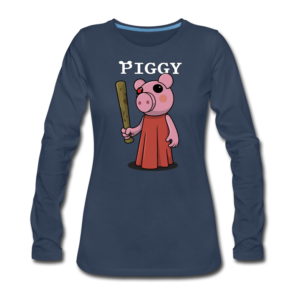 Piggy Logo Long Sleeve T-Shirt (Womens) - navy