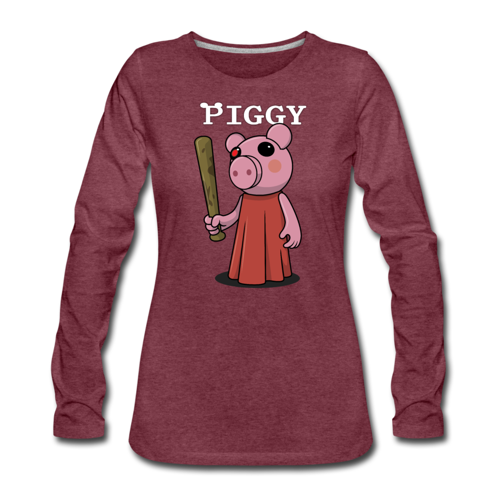 Piggy Logo Long Sleeve T-Shirt (Womens) - heather burgundy