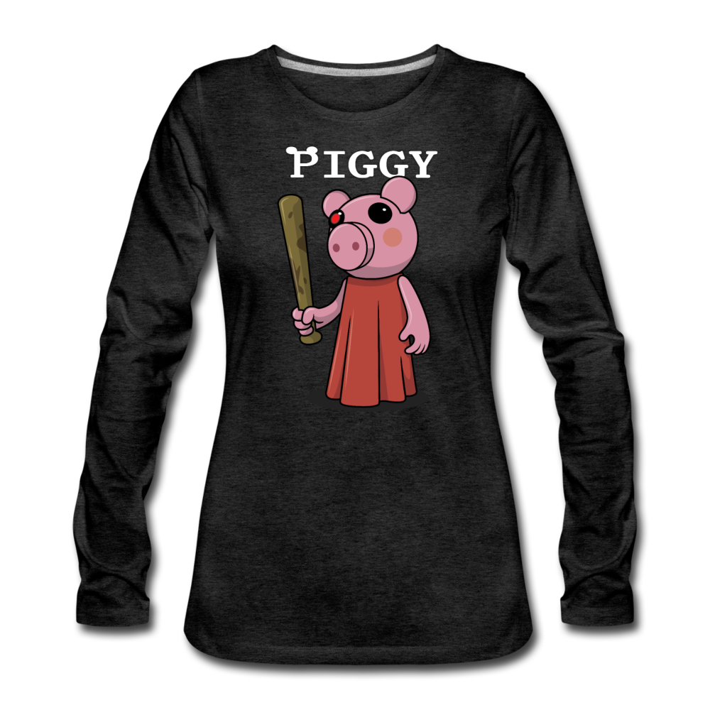 Piggy Logo Long Sleeve T-Shirt (Womens) - charcoal gray