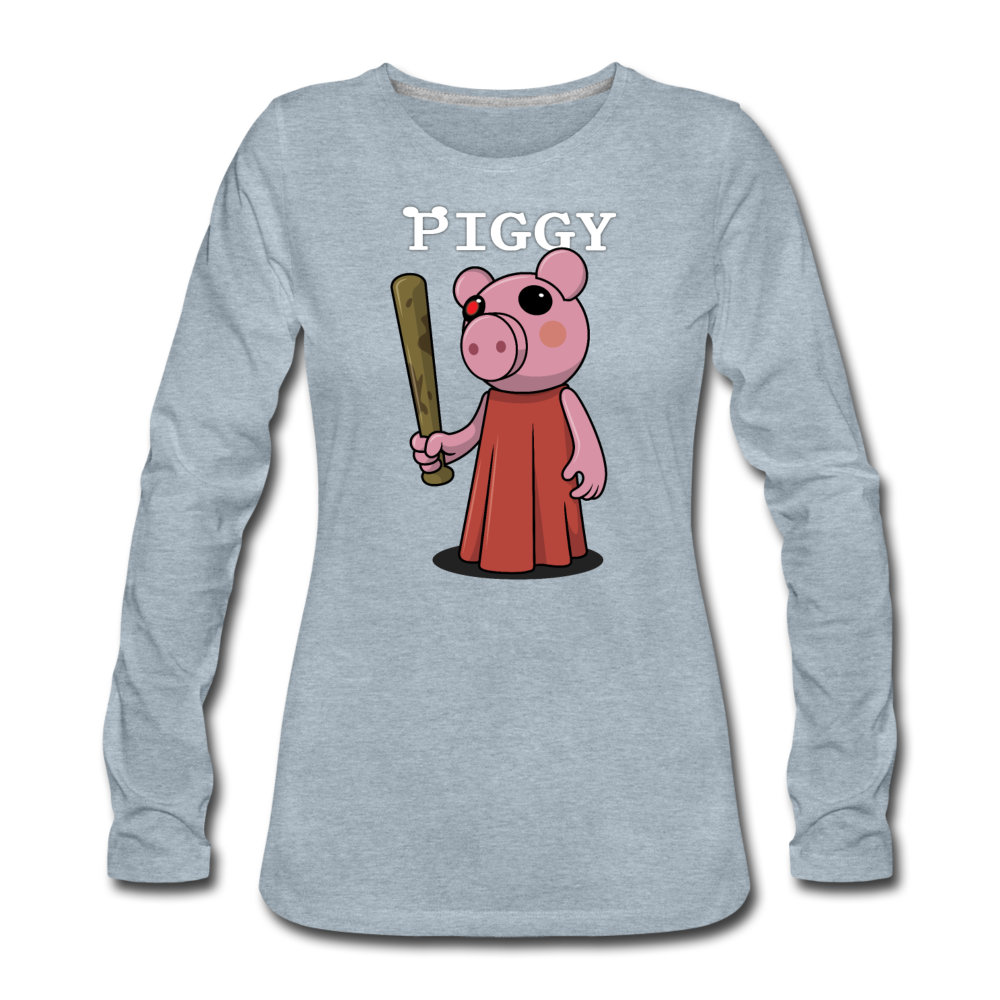 Piggy Logo Long Sleeve T-Shirt (Womens) - heather ice blue
