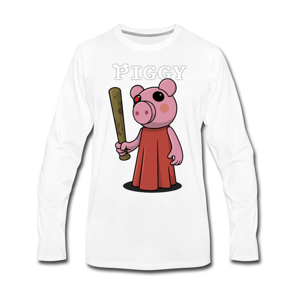 Piggy Logo Long Sleeve T-Shirt (Mens) - white