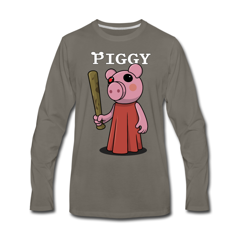 Piggy Logo Long Sleeve T-Shirt (Mens) - asphalt gray