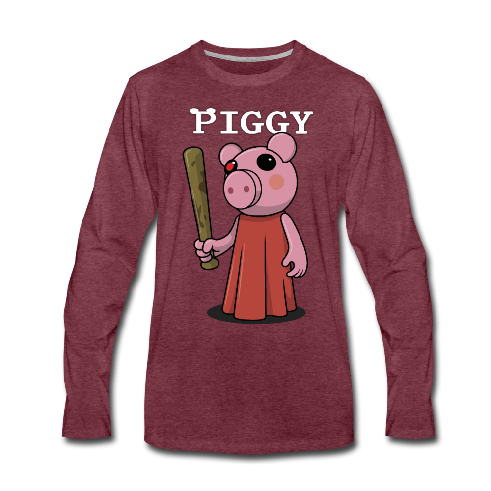 Piggy Logo Long Sleeve T-Shirt (Mens) - heather burgundy
