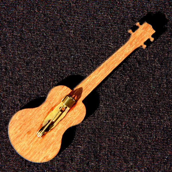 Ukulele Wooden Laser-Cut Brooch Pin