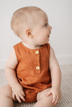 Load image into Gallery viewer, Linen Bubble Romper <br> Clay
