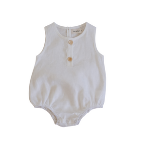 Linen Bubble Romper <br> Coconut