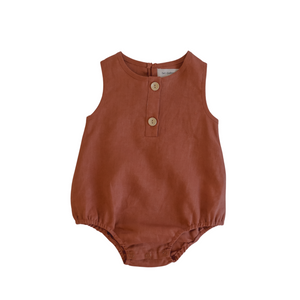 Linen Bubble Romper <br> Clay