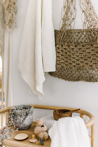 Diamond Knit Baby Blanket <br> Cream