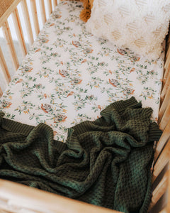 Diamond Knit Baby Blanket <br> Olive