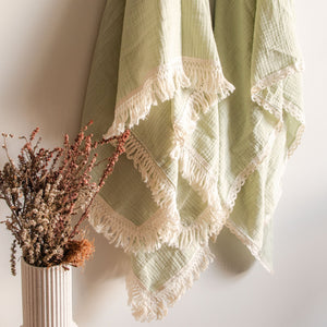 Luxury Swaddle Blanket <br> Dusty Sage with Fringed Trim