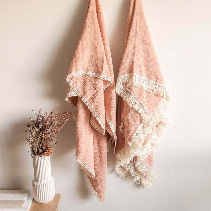 Luxury Swaddle Blanket <br> Dusty Pink with Lace Trim