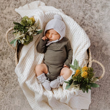 Load image into Gallery viewer, Merino Wool Bonnet & Booties Set <br> Grey