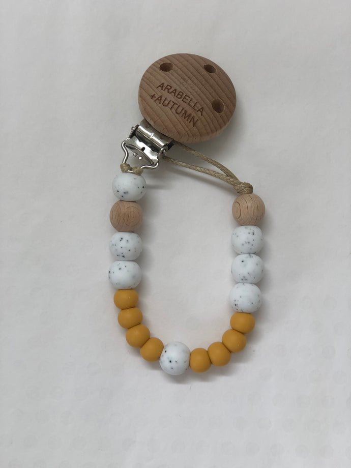 Silicone Beaded Dummy Clip <br> Mustard Speckle
