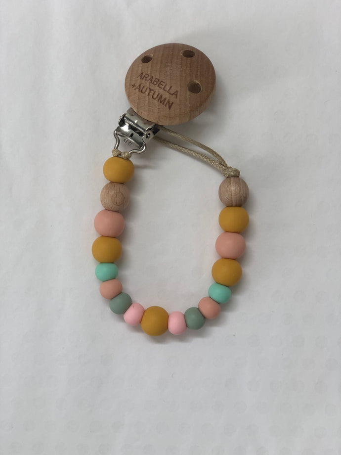 Silicone Beaded Dummy Clip <br> Pastel Rainbow