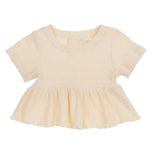Ribbed Peplum Top <br> Sunshine