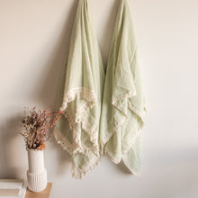 Load image into Gallery viewer, Luxury Swaddle Blanket <br> Dusty Sage with Fringed Trim
