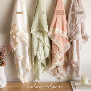 Luxury Swaddle Blanket <br> Milk with Fringed Trim