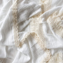 Load image into Gallery viewer, Luxury Swaddle Blanket <br> Milk with Fringed Trim