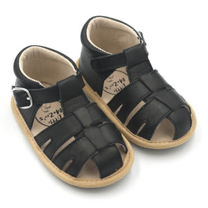 Wax Leather Enclosed Toe Sandals <br> Black