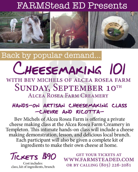 Cheese Making 101  with Bev Michels at Alcea Rosea Farm September 10th 10:00am-1pm