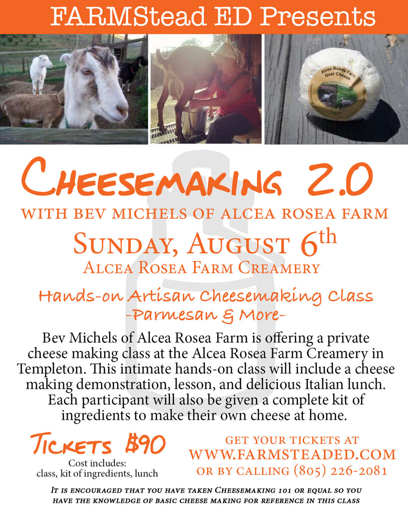 Cheese Making 2.0 August 6  10am-1pm
