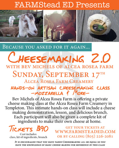 Cheese Making 2.0 with Bev Michels at Alcea Rosea Farm September 17th 10am-1pm