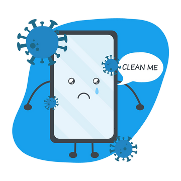 Depiction of Dirty Cell Phone that needs to be cleaned