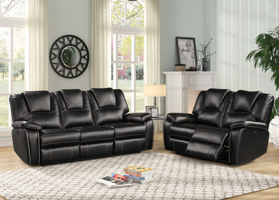 TRENDY 2PC Power Recliner Air Leather Living Room SET (BLACK).