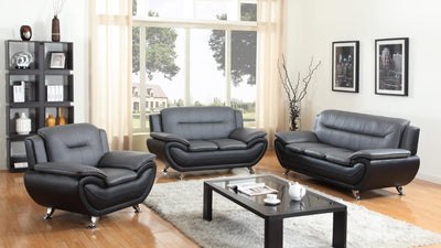 SKY 2 Piece Living Room Set Black PU Leather.