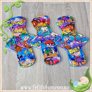 (P002) - 9 inch regular - 3 pack - topped with Rugrats print Minky