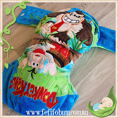 Embroidered Minky Nappy (LARGE) - Donkey Kong Jungle Beats