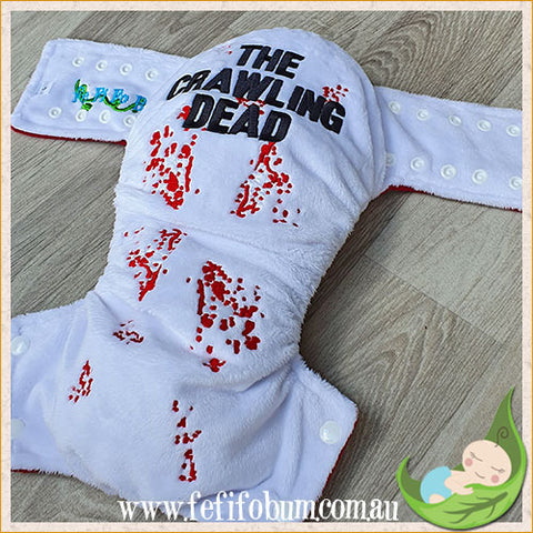 Embroidered Minky Nappy (LARGE) - Crawling Dead (white)