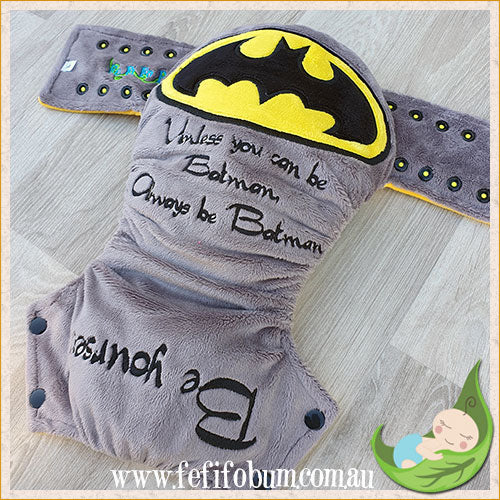 Embroidered Minky Nappy (LARGE) - Be Yourself, Unless you can be Batman