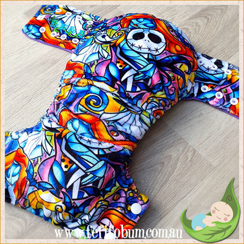 Minky Workhorse Nappy (LARGE) - Nightmare Before Christmas Stained Glass