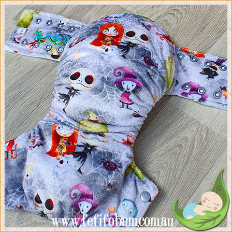 Minky Workhorse Nappy (LARGE) - Nightmare Before Christmas cuties