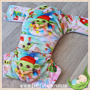 Minky Workhorse Nappy (LARGE) - Space Baby Christmas