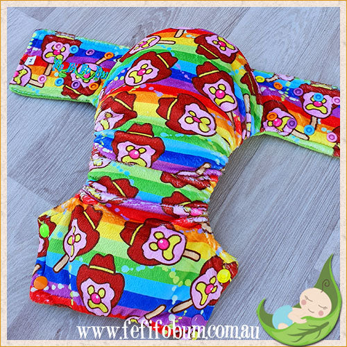 Minky Workhorse Nappy (MEDIUM) - Rainbow BoB