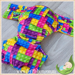 Minky Workhorse Nappy (SMALL) - Bright Bricks